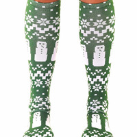 Ugly Sweater Snowman Knee High Socks