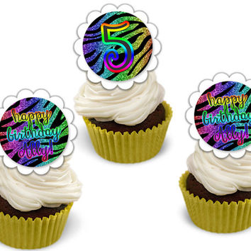Diva Rainbow Zebra Cupcake Toppers - Faux Glitter Birthday Cupcake Toppers - Girl Rainbow Birthday - Zebra Stripe - Personalized - Custom
