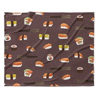 "Strawberringo ""Sushi Pattern"" Orange Brown Fleece Throw Blanket"