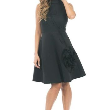 Fit and Flare Dress w/ Flower Applique