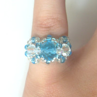 Handmade Cyan Blue & AB Coated Clear Beaded Ring! Bead Ring, Metal Free Ring, Seed Bead Ring, Beaded Jewelry, Swarovski Elements