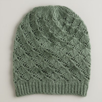 Green Slouchy Knit Hat - World Market