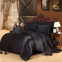 Custom-made Black Luxury Bedding Sets Solid Satin 4 Pcs Queen/King Size