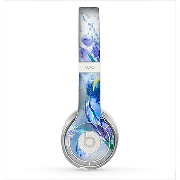 The Abstract Blue Floral Art Skin for the Beats by Dre Solo 2 Headphones
