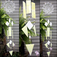 Yellow and White Depression Glass Stained Glass Wind Chimes Indoor Outdoor Garden Decor Windchime