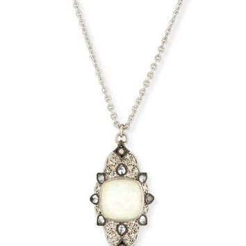 Armenta New World Scroll Necklace with Opal & Champagne Diamonds