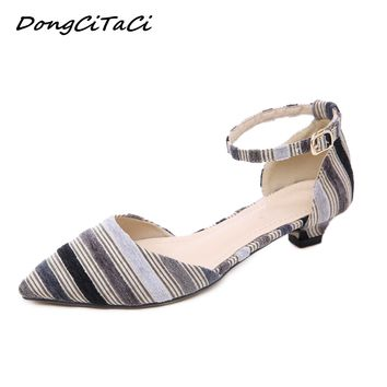 Women's Low Heel Ankle Strap Couture Striped Shoes Plus Sizes 35-42
