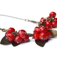 Red fruits necklace, Autumn fruits jewelry, Fall red necklace, Copper leaves sautoir, Gift idea