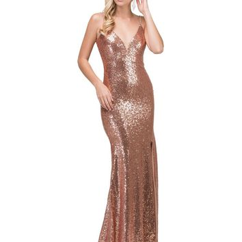 Sexy v-cut sequins prom dress with slit Dq2408