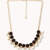 Rosette Faux Pearl Bib Necklace