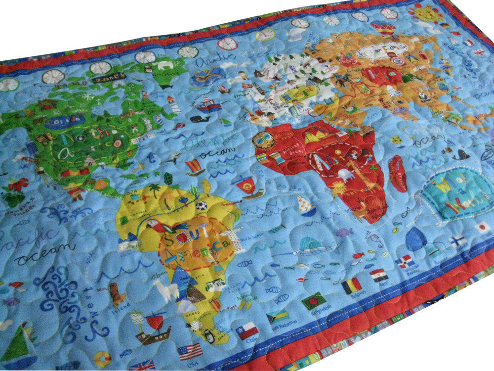 World Map Quilted Wall Hanging Or Play From Sieberdesigns