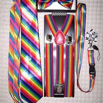 Unisex Rainbow Stripes Adjustable Bow tie,Neck Tie,Suspenders,Lanyard,Shoelaces7
