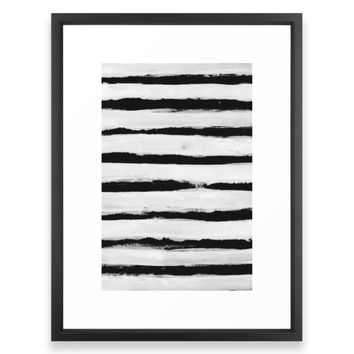 Society6 BW Stripes Framed Print