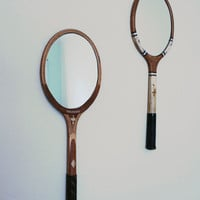 Oval Tennis Racket Mirror. Cottage Mirror. Eclectic Home Decor. Beach House. Nautical. Round,