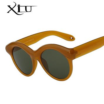 XIU Oval Round Women Sunglasses Brand Designer Unique Style Sunglass Retro Vintage Woman Glasses Top Quality Oculos UV400