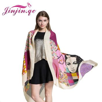 [Jinjin.QC] 2017 Women Scarf beach towel Scarves & Shawls Elephant pashmina Lonely patients girl Printed Echarpe Foulard Femme