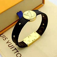 LV Louis Vuitton Newest Fashion Leather Bracelet Hand Catenary Jewelry Black