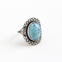 Vintage Sterling Silver Simulated Turquoise Cabochon Ring - Retro Filigree Adjustable Marbled Blue Oval Glass Stone Beau Jewelry