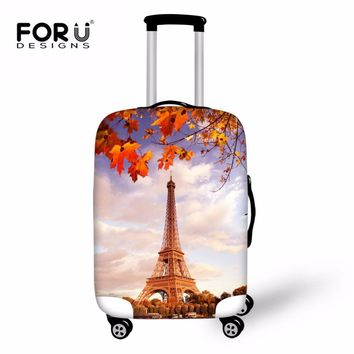 FORUDESIGNS Eiffel Tower Luggage Protective Cover Stretch Trolley Case Landscape Printing Suitcase Covers New Travel Accessories