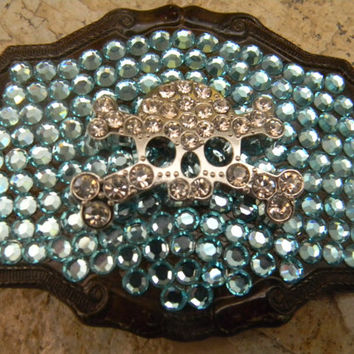 Rhinestone Skull and Bones Belt Buckle, Blue Swarovski Belt Buckle, Womens Biker Pirate Skull Belt Buckle, Western Blue Belt