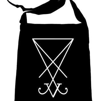 Sigil of Lucifer Black Crossbody Sling Bag Goth Occult