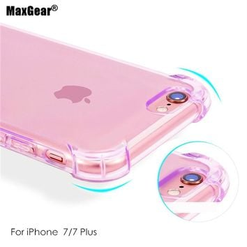 Shockproof Colorful Clear Soft TPU Back Case For IPhone 7 IPhone7 I7 7 6 6s Plus Transparent Clear Coque Silicone Gel Skin Cover