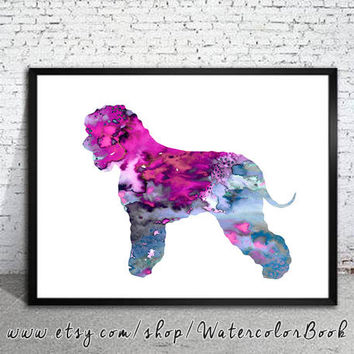 Irish Water Spaniel 2 Watercolor Print, Irish Water Spaniel art,dog art, dog print, Home Decor, dog watercolor,animal watercolor,animal art