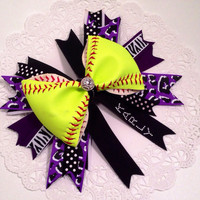 "Custom Softball Bow with double layer 7"" Spike ribbons with player number and name added to ribbon. Up to six letters."