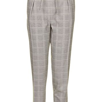 TALL Check Eyelet Peg Trousers | Topshop