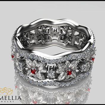 Flower Design 14K White Gold Diamond  Ring,Ruby and Diamond ring,Anniversary Ring,Diamond Eternity Band,Ladys Jewelry,Unique Wedding Rings