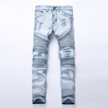New dropshipping men Biker jeans ripped denim slim fit motorcycle pant classic hip hop skinny casual winter stretch women jeans