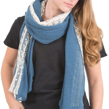 """Blue - 70"""" x 30"""" Lace Accent Scarf"""