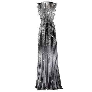 Abendkleider Gray Beading Evening Dresses Long Glitter 2017 Custom Sleeveless Sliver Sequins Formal Prom Gowns Robe de soiree