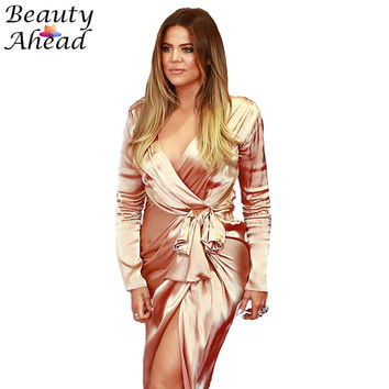 Newest women  maxi dress Long Sleeve V-neck Autumn long Dress Kim Kardashian high Slits vestidos pink satin wrap dresses