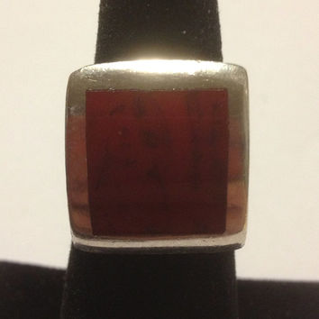 Taxco Red Coral Ring Size 6 Sterling Silver Square RARE Stamped 925 Mexico 9.5 Grams Vintage Jewelry Southwestern Tribal Gift Mexican 60s