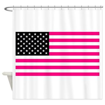 pink american flag Shower Curtain