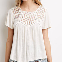 Slub Knit Crochet Panel Top