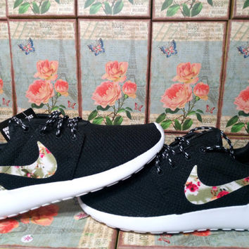 custom nike roshe run black athletic women shoes with fabric flowers nike roshe run fabric floral nike shoes customized nike