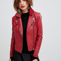 Y.A.S Leather Biker Jacket at asos.com
