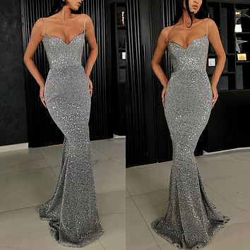 Summer Bodycon Glitter Dresses For Women Elegant Sequin Maxi Dress Sexy V-Neck Party Slim Long Mermaid Dress Vestido
