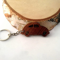 Wooden Volkswagen BEETLE Keychain, Walnut Wood, CarKeychain, Cool Keychain, Environmental Friendly Green materials