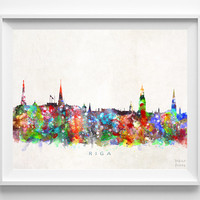 Riga Skyline Print, Latvia Art, City Poster, Watercolor Painting, Wall Art, Cityscape, Home Decor, Living Room Decor, Christmas Gift