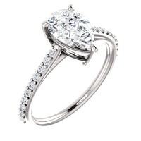 1.25 Ct Pear Ring For Gemstone 14k White Gold