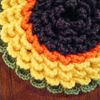Crochet Sun Flower Pot Holders - Sunflower Trivet - Crochet Potholder - Kitchen Hot Pad - Christmas Holiday Gift