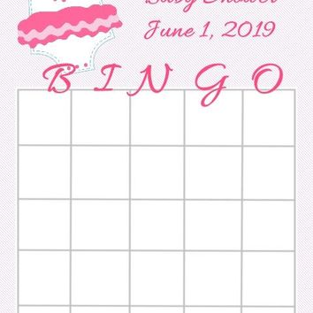 10 Pink Baby Shower Bingo Cards