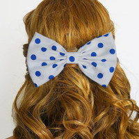 Blue polkadots Hair Bow Blue Bow Clip Blue Big Bows Blue Fabric Bow Fabric Hair Bow fabric Clip for kids hair bows for women white hairbow