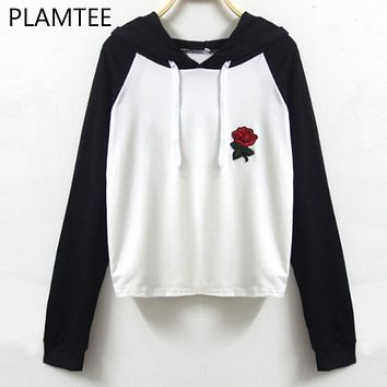 PLAMTEE Women Floral Embroidery Hoodies Autumn Casual Hit Color Hooded Sweatshirt College Preppy Women Clothes Female Tracksuit