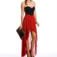 Pre-Order:Deep Red Strapless Hi-Low Dress