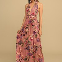 Verona Sunsets Floral Halter Maxi Dress | Threadsence