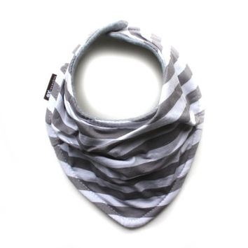 Gray and white stripes - Infant and/or Toddler bandana bib - Drool bib - Scarf bib in soft fabric - gender neutral scarf bib